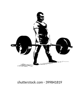 man with barbell deadlift