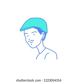 Man with baret hat caps cartoon illustration vector isolated