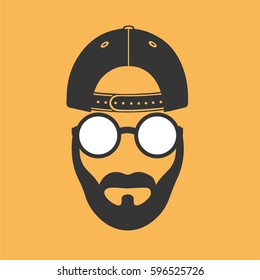 Man baseball cap glasses
