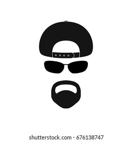 Man with baseball cap, sunglasses and goatee. Avatar icon.