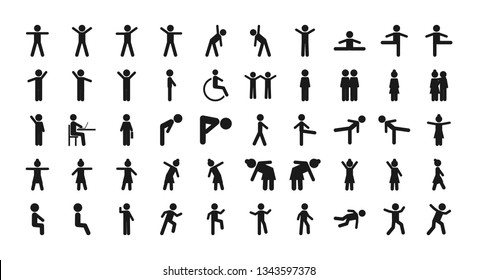 Man Basic Posture People Sitting Standing Icon Sign Symbol Pictogram. Man different position standing vector icon set. Woman different position standing vector icon set