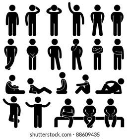 Man Basic Posture People Sitting Standing Icon Sign Symbol Pictogram