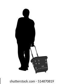 a man with a basket at the market - silhouette