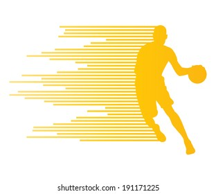 Man basketball player vector background concept made of colorful stripes