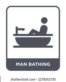man bathing icon vector on white background, man bathing trendy filled icons from Behavior collection, man bathing vector illustration