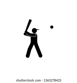 man batter ball glyph icon. Element of baseball sport illustration icon. Signs and symbols can be used for web, logo, mobile app, UI, UX
