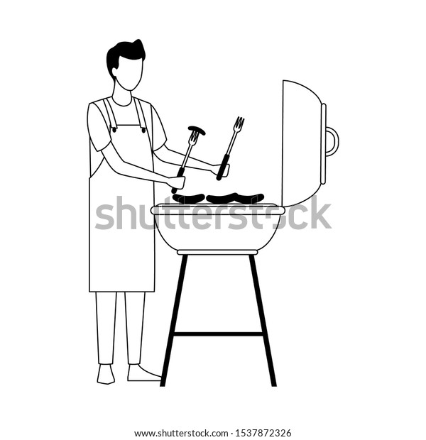 man and bbq grill icon over white background, vector illustration
