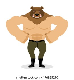 Man Bear. Strong powerful wild evil animal with big muscles. Bodybuilder with beast head. Russian angry Predator muscleman