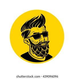 Man with beard in the form of hop vector illustration. Craft beer logo