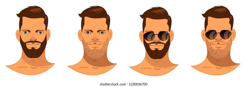man with a beard, handsome guy with glasses , hipster, trendy, stylish, brunette, avatar, cartoon character, face, head, set