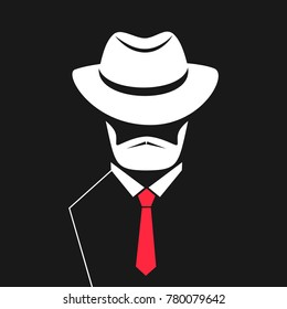A man with a beard in a hat, tie. Logo for barbershop, men's store