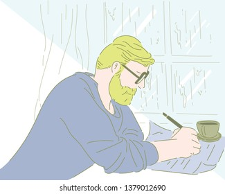 A man with a beard in his blonde hair is sitting at his desk and writing. hand drawn style vector design illustrations.