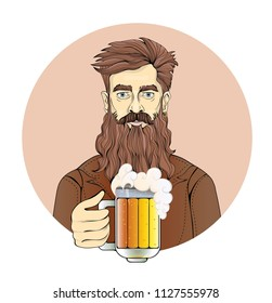 Man with beard holding a beer mug. Portrait of a man in circle, sepia tint. Flat vector illustration. Isolated on white background.