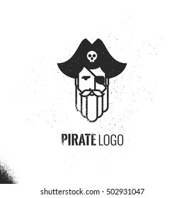 Man with beard and mustache wearing a pirate hat logo.