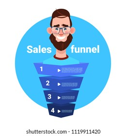 man beard portrait manager sales funnel with steps stages business infographic. purchase diagram concept over white background copy space flat design vector illustration