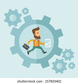 The man with a beard is running inside the gear. Business in action concept. Vector flat design Illustration.