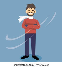 Man with beard in winter fashion. Wearing red sweater and white scarf-vector cartoon
