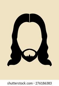Man with beards and long hair symbol