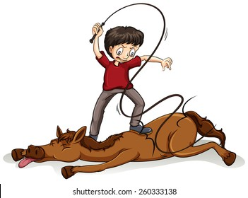 Man beating the horse with a rope on a white background