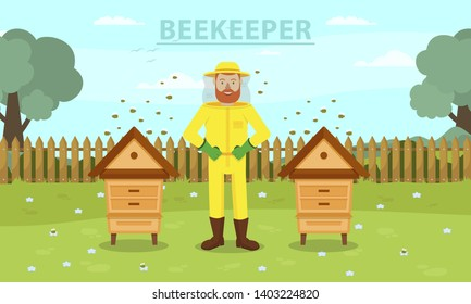 Man Beekeeper in Yellow Protective Suit Between Two Hive. Beemaster at Spiary. Breed Bees. Bees Flying near Hive. Apiarian Costume. Apiary on Background Forest. Vector Illustration. Hobby Beekeeping.