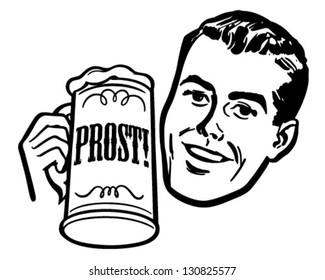 Man With Beer Stein - Retro Clip Art Illustration