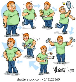 Man before and after weight loss program and training. Hand drawn funny cartoon characters, sketch, isolated