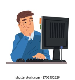 Man Being Bored with His Job, Lazy Businessman Working with Computer Procrastinating at Workplace, Unmotivated or Unproductive Manager Vector Illustration
