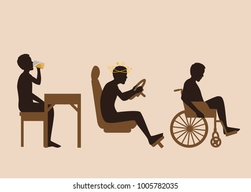 Man being a disabled on wheelchair after drink alcohol and drive a car. illustration about drunk and accident.