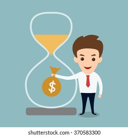 Man beside hourglass holding money bag- time is money