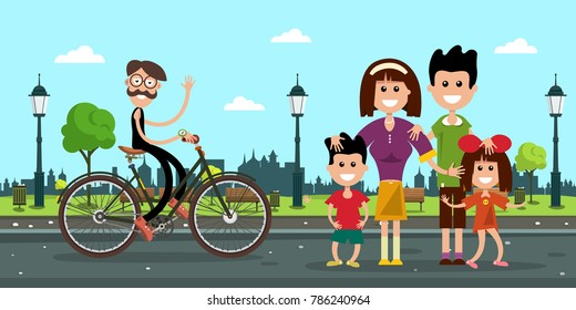 Man in Bicycle with Family on Road in City Park. Vector Flat Design Illustration.