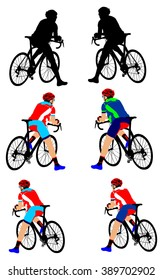 A man bicyclist riding a bicycle isolated against white background vector illustration. Cyclists resting on the start position.