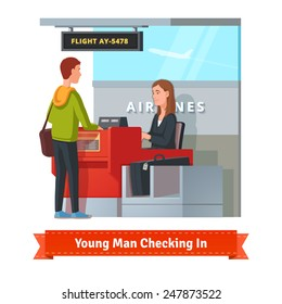 Man with big suitcase checking in at the airport with pretty airlines clerk. Flat style illustration or icon. EPS 10 vector.