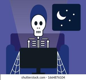 Man binge watching tv late into night and turning into skeleton