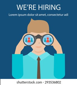 Man with binoculars looking for the best suited employee. HR, recruiting, we are hiring concepts, vector illustration.