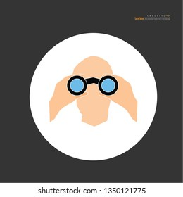 man with binoculars.vector illustration.