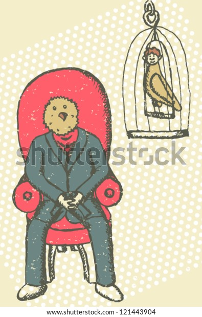Man Bird Had Bird Man Body Stock Vector Royalty Free 121443904