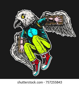 man in bird mask and wings jump to fly hand drawing colored