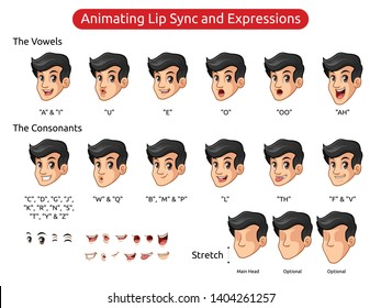Man with black hair cartoon character design for animating lip sync and expressions, vector illustration.