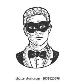 Man in black masquerade mask sketch engraving vector illustration. T-shirt apparel print design. Scratch board imitation. Black and white hand drawn image.