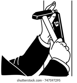 Man in black suit affixing Mezuzah by hands with hammer on door frame. Black Mezuzah with white Hebrew letter. Black and white illustration on white background.