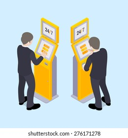 Man in black suit near the payment terminal. Illustration suitable for advertising and promotion