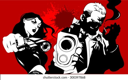 man in black suits with a weapon, vector illustration