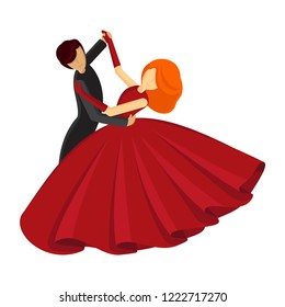The man in black and the woman in red are dancing the waltz.