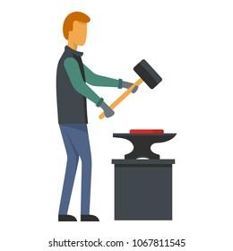 Man blacksmith icon. Flat illustration of man blacksmith vector icon for web