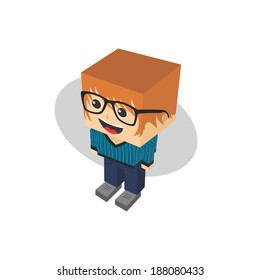 man block isometric avatar cartoon character