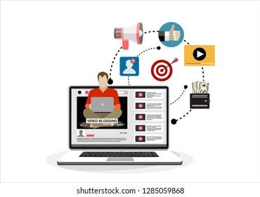 Man blogger. Video computer blogging concept. Flat vector illustration