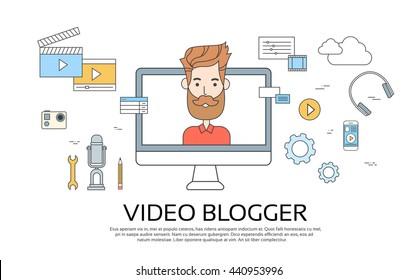 Man Blogger Video Computer Blogging Concept Flat Vector Illustration
