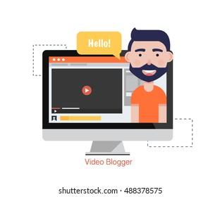 Man Blogger Video Computer. Concept blogging.Digital blog. Flat Vector Illustration