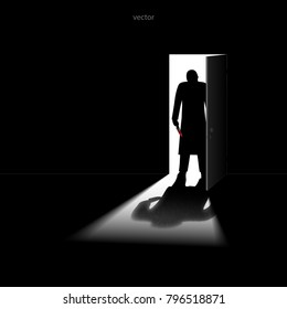 A man with a bloody knife standing in the doorway. Armed robbery. Ruthless assassin. Killer. VECTOR illustration