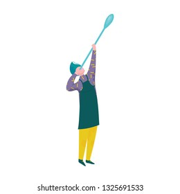 Man Blowing Glass, Male Glassblower or Glassworker Character, Hobby or Profession Vector Illustration